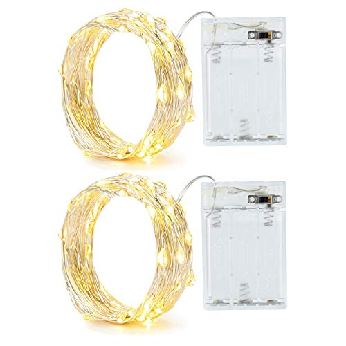 2 Pack Battery 2M 20 LED Silver Wire Fairy String Lights Firefly Lights DIY Decoration for Bedroom Jars Christmas Wedding Party Festival Outdoor Camping Warm White with Timer