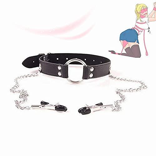 Accessori per abiti femminili Gioielli con doppia collana con colletto in pelle a catena