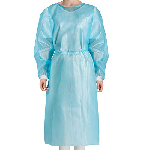 [Upgrade]JMU Disposable Isolation Gowns Non Woven,10 Pcs,Knit Cuffs Disposable Protective Clothing Isolation Gowns Blue,XL Size