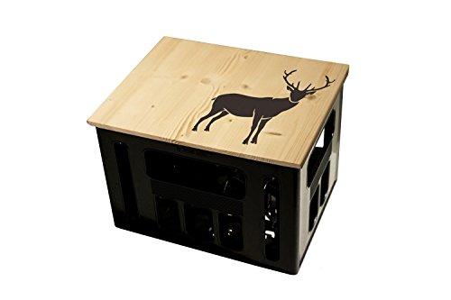 ultiMade Bierkastensitz Holz Sitzauflage für Bierkiste Geschenkidee Geschenk für Männer Biergeschenk Hocker Holz: Hipster mit Motiv Hirsch