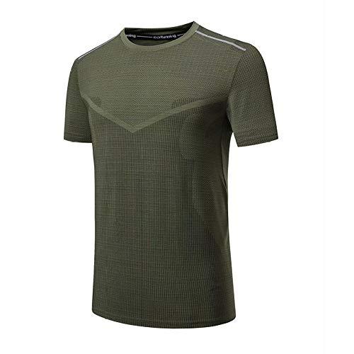 Cxypeng Jungen Sportshirt - Laufshirt,Sommerschnelltrocknende Kurzarm-T-Shirts, Sportoberteile, Laufkleidung - Army Green_XXXL,Trainingsshirt Kurzarm Top