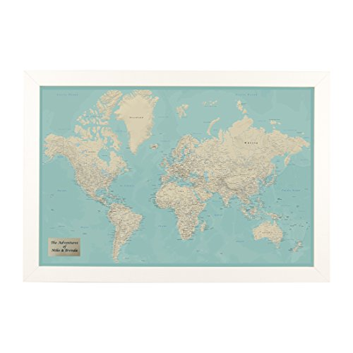 Push Pin Travel Maps Personalized Teal Dream World with Textured White Frame and Pins - 27.5 inches x 39.5 inches