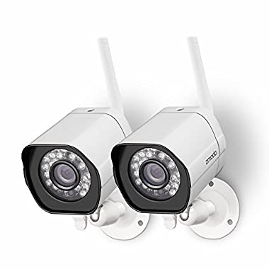 Zmodo Wireless Security Camera System (2 Pack) Smart HD Outdoor WiFi IP Cameras with Night Vision - Works with Alex