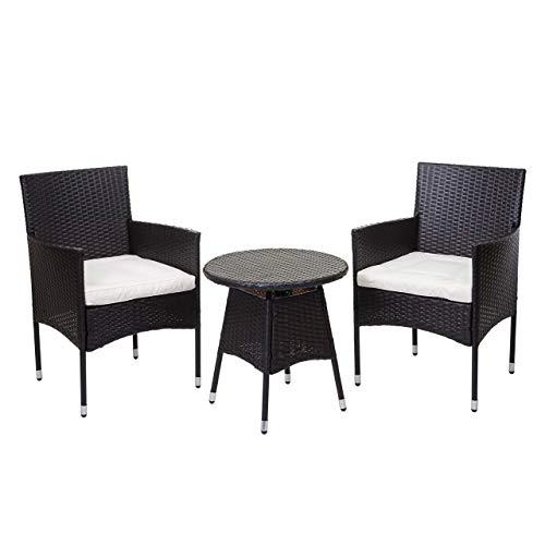 Mendler Poly-Rattan Balkonset HWC-G27, Sitzgarnitur Gartengarnitur, 2xSessel+Tisch ~ braun, Kissen Creme
