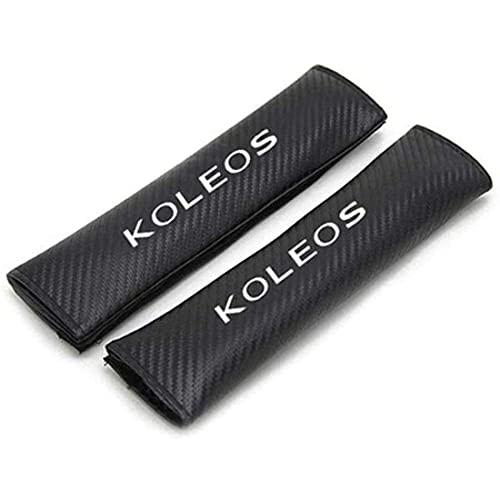 TUHT 2Stück Kohlefaser Leder Gurtpolster Für Renault Koleos, Komfort Atmungsaktiv Weich SchüTzen Hals Schulter Seat Belt Pads, Auto Interieur Zubehör