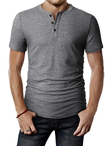 H2H Men Button Slim Henley Neck Long Sleeve Casual Linen Shirts Gray US 3XL/Asia 4XL (CMTTS0203)