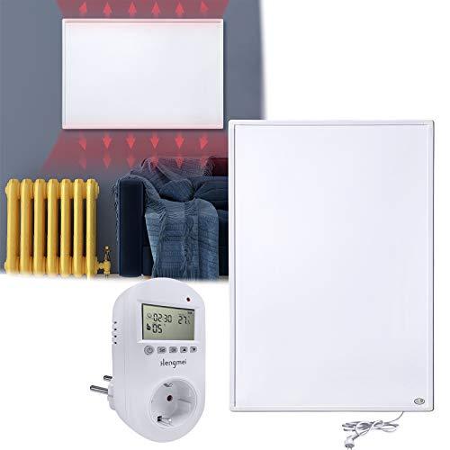 HENGMEI Infrarotheizung 600W mit Thermostat GS Tüv Prüfsiegel Wandheizung Elektroheizung Wand- Deckenmontage Überhitzungsschutz IP54 Schutz Heizpaneel