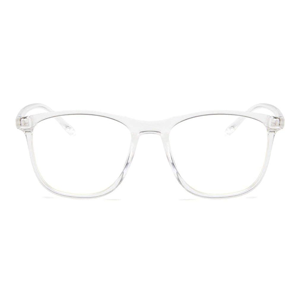 つかむドラマポイント韓国の学生のプレーンメガネ男性と女性のファッションメガネフレーム近視メガネフレームファッショナブルなシンプルなメガネ-透明ホワイト