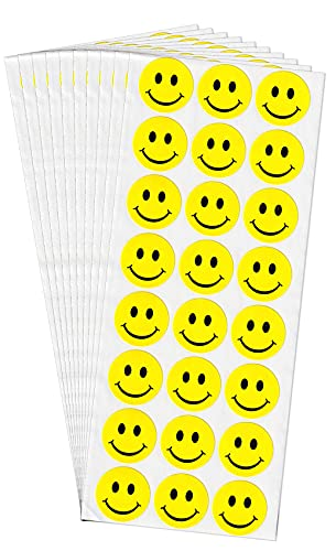 dealzEpic - Round Yellow Smiley Face/Happy Face Labels - Self Adhesive Peel and Stick Paper Sticker - 1 inch in Diameter