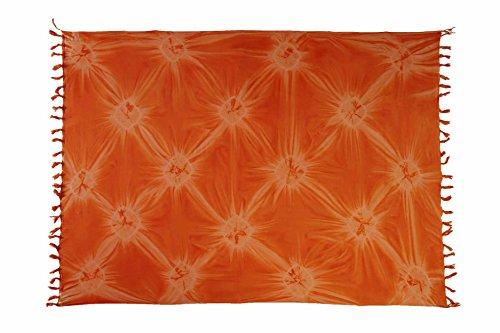 Ciffre Sarong Pareo Wickelrock Strandtuch Tuch Schal Wickelkleid Strandkleid Blickdicht Ibiza - Orange Sunset