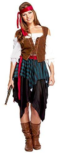 ADULTE UNISEXE COSTUME DE PIRATE CARAÏBES FANCY DRESS DÉGUISEMENT FILLE PaRTY - Multicolore - S