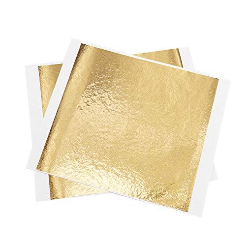 KINNO Imitation Blattgold 100 Stück 13x13.5cm Kunsthandwerk Kunstprojekt Möbel Gemälde Wand DIY B Gold