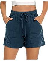FASKUNOIE Women's Lightweight Casual Shorts Plain Solid Color Summer Beach Drwastring Shorts Blue Gray