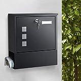 woohse cassetta delle lettere con tubo portagiornali, cartellino per il nome, 3 finestrelle, 2 chiavi per serratura a cilindro, colore: nero