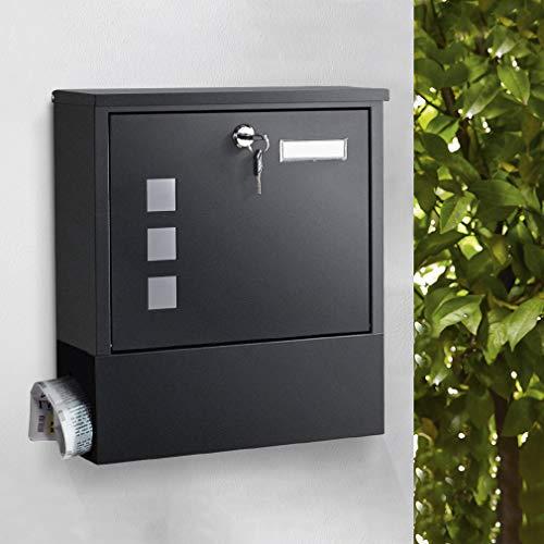 Briefkasten mit Zeitungsfach, WOOHSE Wandbriefkasten Schwarz mit Zeitungsbox Verzinkter Stahl pulverbeschichtet Postkasten A4 Einwurf-Format + Namensschild + Sichtfenster + 2 Schlüssel abschließbar