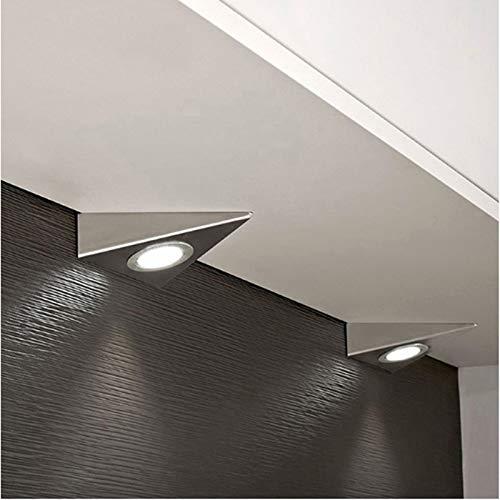 Uonlytech – 2 unidades de luces LED para armarios de cocina, armarios, botelleros y TV (13 x 13 cm), diseño triangular, color blanco