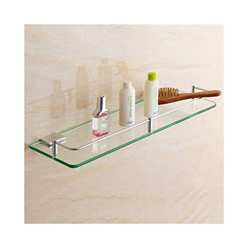JIE KE Estante de exhibición de acero inoxidable, estante de cristal de baño, acabado cepillado, resistente, resistente al óxido, organizador de almacenamiento de pared (tamaño : 50 cm)