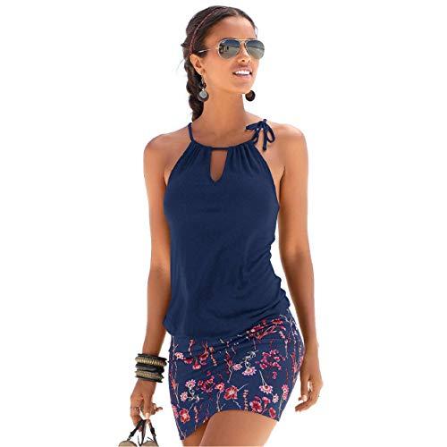 Yuson Girl Vestiti Donna,Copricostume Donna Mare Floreale Abiti Donna Estivi Estate Casual Maniche Corte Spiaggia Vestiti da Vacanza,Sexy Beach Dress