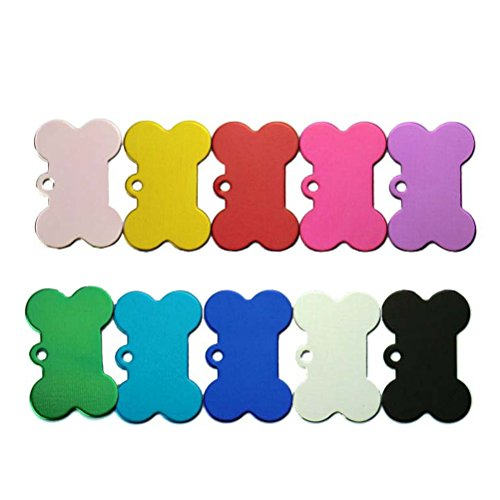 Ueetek Lot de 10 médailles d'identification pour animaux, plaque pour chien en forme d'os