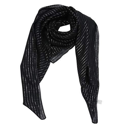 Superfreak Baumwolltuch - schwarz Lurex silber - quadratisches Tuch
