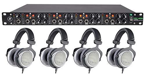 Beyerdynamic DT-880-PRO-250 Semi Open Studio Reference Monitor Headphones Bundle with Mackie HM-400 Pro Rackmount 4-Channel Headphone Amplifier w/12 Headphone outputs
