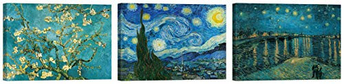 LuxHomeDecor Cuadros Van Gogh Noche estrellada almendra en flor Art 3 piezas 40 x 30 cm Impresión sobre lienzo con marco de madera Decoración Arte Decoración Moderno