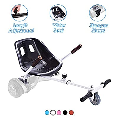 Hoverboard Seat Attachment, Go Kart Conversion Kit for Self Balancing Scooter, Adjustable Hoverboard Kart Accessories, Fits All Ages & Heights, Heavy Duty Frame, Compatible for 6.5'' 8'' 10'', White