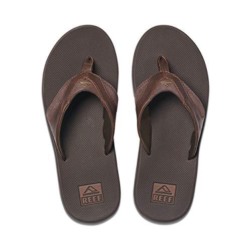 Reef Men's Sandals Leather Fanning | Bottle Opener Flip Flops for Men | Dark Brown | Size 11