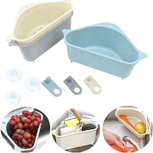 Cesta triangular para fregadero de 3 piezas de almacenamiento con ventosa, organizador de cocina