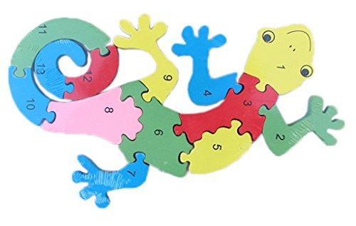 Bigood Jouet Bébé Enfant Puzzle en Bois Alphabet Chiffre Cognition Gecko Réveil