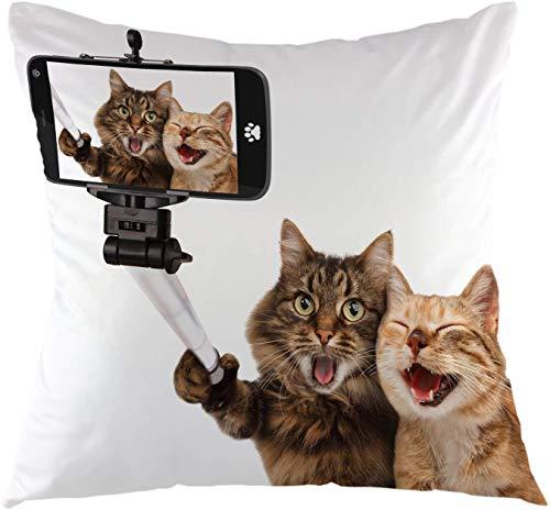 Fodera per cuscino da tiro Gatti divertenti Prendendo una fodera per cuscino per selfie Fodera per cuscino quadrata per divano divano Casa auto Camera da letto Soggiorno Decorativo 18 'x 18' Marrone Bianco