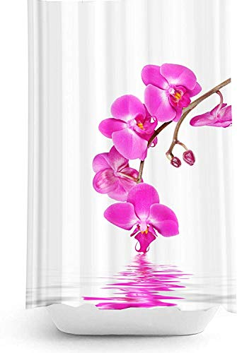 Zethome Orchidee Duschvorhang 120 x 200 cm Digitaldruck Modern Design Polyester Stoff Wasserdicht Waschbar Schimmel & Mehltau widerstandsfähig mit Haken enthalten (119,4 x 198,1 cm)