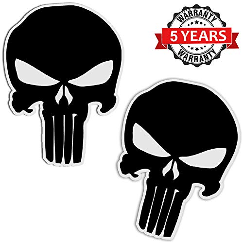 SkinoEu® 2 Stück Vinyl Aufkleber Autoaufkleber Punisher Skull Schädel Totenkopf Schwarz Knochen Horror Stickers Auto Moto Motorrad Fahrrad Helm Fenster Tuning B 27