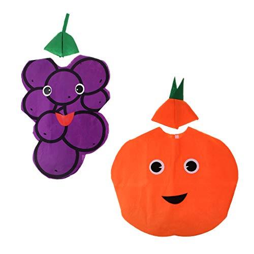 dailymall 2 Sets Kinder Früchte Traube Orange Kostüm Stoff Outfit Dress Up Zubehör