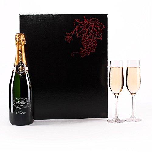 Herz & Heim® Champagner Set zum Geburtstag mit Gravur der Flasche u. 2 Sektgläser