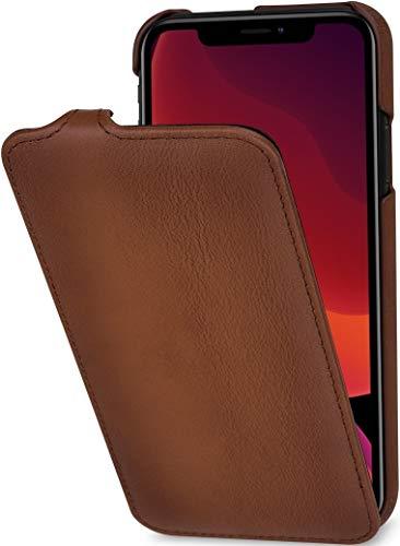 StilGut UltraSlim entwickelt für iPhone 11 Hülle - iPhone 11 Flip Case aus Leder, Klapphülle, Handyhülle, Lederhülle - Braun Antik