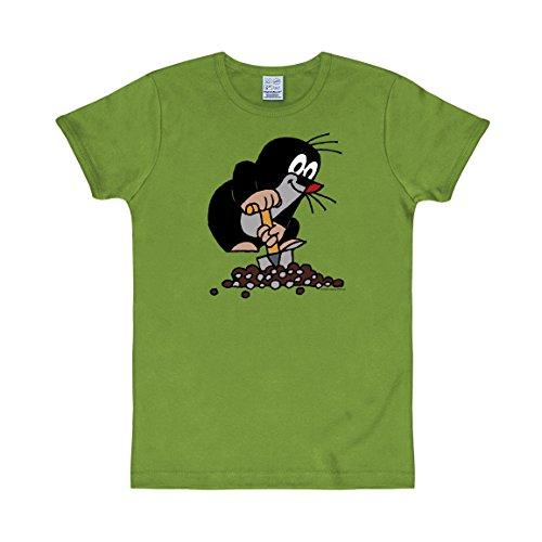 Logoshirt TV - Cartoon - Der kleine Maulwurf - Schaufel - Slimfit T-Shirt - Hellgrün - Lizenziertes Originaldesign, Größe L