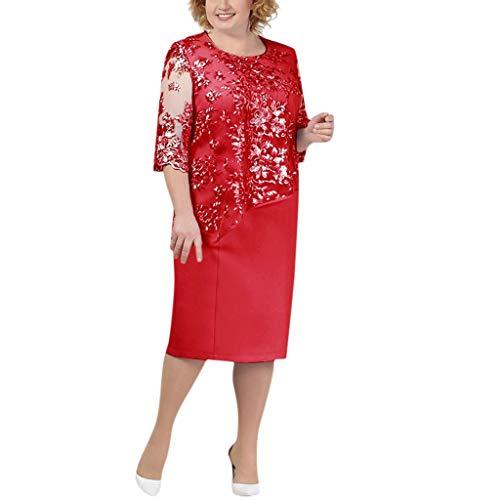 Auifor Vrouwen Plus Size sjaal vervalste elegante tweedelige kant korte mouwen midi-jurk dames cocktail avondjurk jurk rok