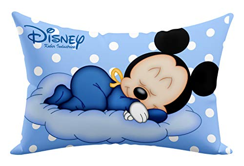 """Kuber Industries Disney Printed Toddler Kids Pillow Silky Soft Microfiber Polyester, Perfect for Travel,Toddler Cot,12""""x18"""" (Sky Blue)-KUBMART15814"""