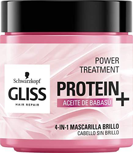 Gliss - Mascarilla Proteína 4 En 1 Aceite De Babasu – 400ml – Proteína para tu cabello – Fórmula vegana y sin colorantes artificiales – Para cabello sin brillo