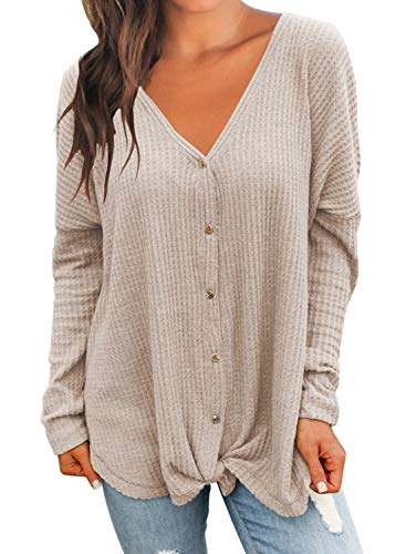 MIHOLL Womens Loose Blouse Long Sleeve V Neck Button Down T Shirts Tie Front Knot Casual Tops (Medium, Z- Oatmeal)