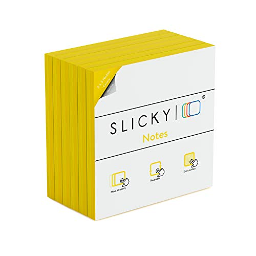 Slicky Notes 123987 Reusable Double Sided Notes: 3x3 Inch Glue Free, Static Charged, Dry Erasable, Slideable, Eco-Friendly Paper Pads in 6, 12, and 24 Pack, 6 Packs Yellow