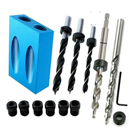 Woodworking Pocket Hole Jig Kit 6/8/10Mm Angle Drill Guide Set Hole Puncher Locator Jig Drill Bit Set Set-E