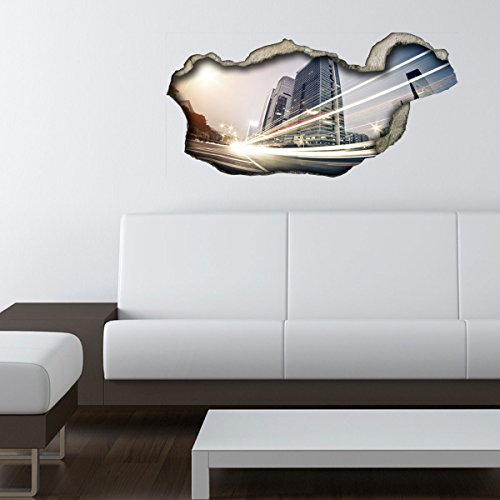 Dalinda® 3D Wandsticker 3D-Optik Citylights Wanddeko 3D Wandtattoo 3D Wandbilder Wandgestaltung DS215 (60x29cm)