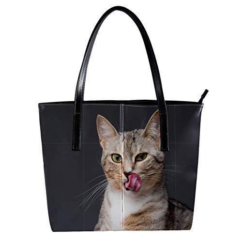 TIZORAX Damen-Handtasche mit Katzenmotiv aus PU-Leder