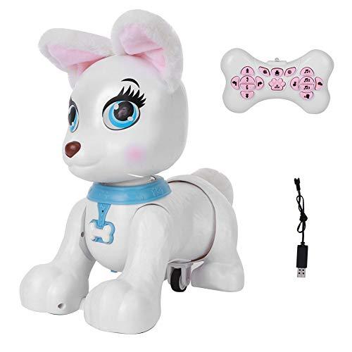 Giocattolo elettronico per cani Robot Programmazione Intelligente Telecomando Cartoon Animale Modello Bambini Educativi Interattivi Giocattoli (9 x 14 x 27,9 cm) (bianco)