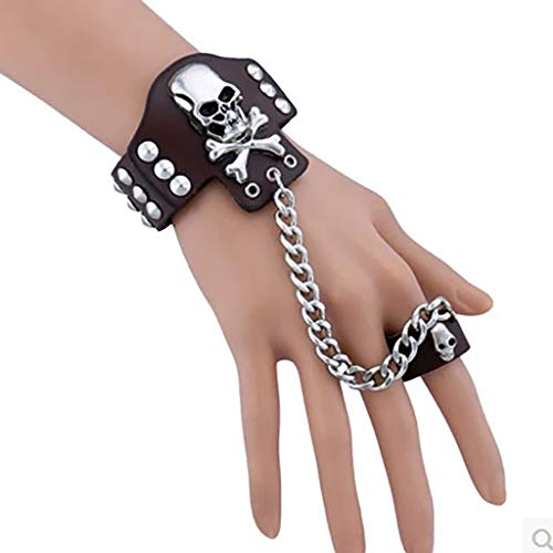 gujiu Punk Ring Bracelet Leather Skull Bone Rivet Hand Ring Chain Harness Bracelet Gothic Costume (Color : Black)