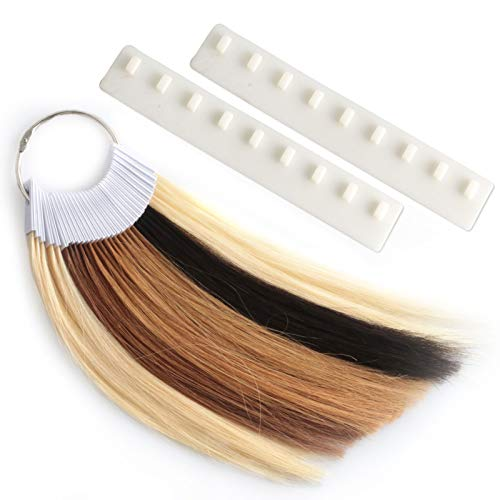 MEckily 30 Pcs Human Hair Swatches Testing Color Samples for Salon Color Rings Free 2 Swatch Holders (8 inch 6 Levels)
