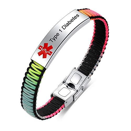JF.JEWELRY Medical Alert ID Awareness Bracelet for Women Handmade Nylon Rope Braided Bracelets, Adjustablet