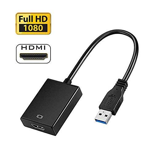 USB 3.0 zu HDMI Adapter, HD 1080P Video Adapter für Laptop HDTV TV, Audioausgang für mehrere Monitore, kompatibel mit Windows 7/8/10 PC (KEIN MAC & Vista)